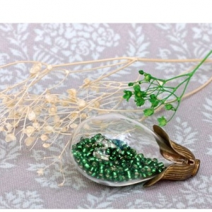 Набор стеклянный кулон-капля ЗОЛОТО