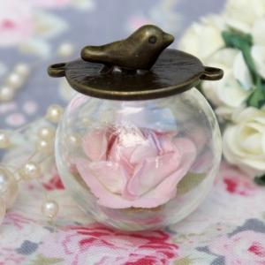Набор стеклянный кулон-шар с птичкой 2 крепления