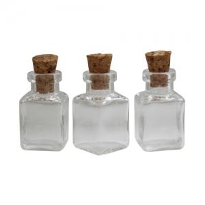 Бутылочка стеклянная с пробкой, квадратная
