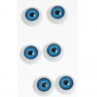 Глазки объемные, круглые , голубые