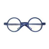 Очки со стеклом круглые, пластик, цв. синий