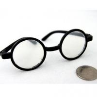 Очки со стеклом круглые, пластик, цв. черный