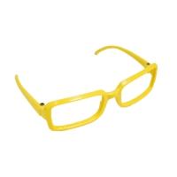 Очки без стекла , пластик, прямоугольные, желтый