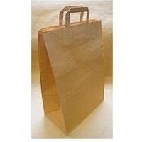 Пакет крафт коричневый с плоскими ручками