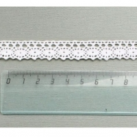 Кружево 100% хлопок, дизайн 07 белый, 16 мм