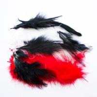 Перья Черные, белые, красные 12 см