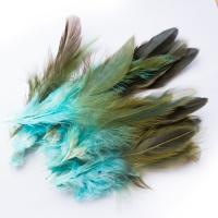 Перья Бирюзово-коричневые 12 см