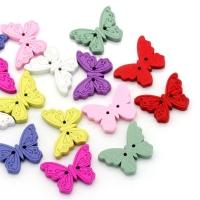 Пуговицы деревянные Бабочки, разноцветные