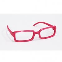 Очки без стекла прямоугольные, пластик, розовый