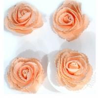 Цветы с блестками,светло-персиковый