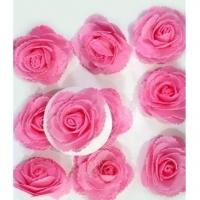 Цветы с блестками,розовый