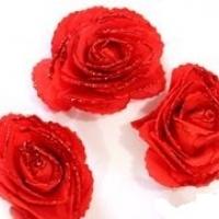 Цветы с блестками, красный